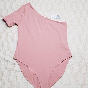 One sleeve rose pink bodysuit large